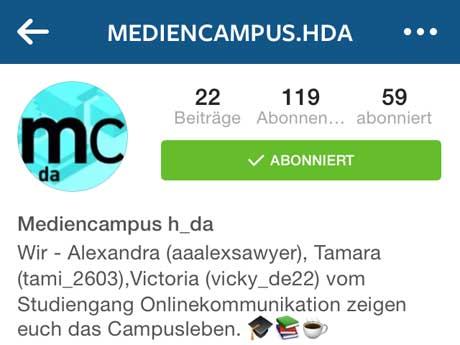 Soziale Kanäle: Mediencampus meets Instagram!